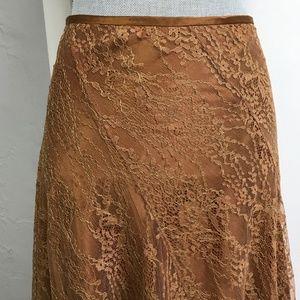 DKNY Lace Bias Cut Skirt Bronze Gold Lace Skirt